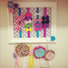 DIY Bow Board! Made this to match my little girl's Nursery! Might have to make a bigger one down the line...