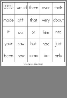 Sight Word Bingo, Sight Words, Bingo Board, Just Be, Sight Word Games, Literacy Centers