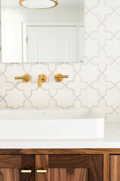 Bathroom tile + gold