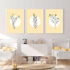 Set of three botanical prints, Yellow art print, Gender Neutral Nursery Wall Art Print, Minimalist print, Butter Yellow Best Selling Print
