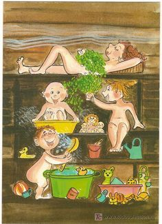 Postcard travelled km miles) in 5 days (from Finland to Israel): A traditional Finnish sauna with the kids :) Sauna Privé, Steam Sauna, Basement Sauna, Spa Privatif, Finnish Sauna, Kawaii Illustration, Infrared Sauna, Saunas, Thing 1