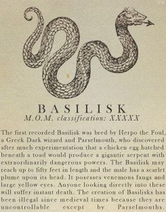 Basilisk- Fantastic Beasts and Where to Find Them
