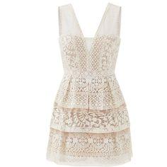 Rental BCBGMAXAZRIA Scarletta Lace Dress ($45) ❤ liked on Polyvore featuring dresses, vestidos, robe, short dresses, cream, white mini dress, white sleeveless dress, white v neck dress and sleeveless lace dress