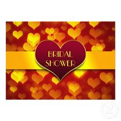 modern love hearts red yellow bridal shower invitations