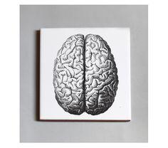 #Baldosa de cerámica con reverso en goma negra. 10x10 cm. 13,50€ c/u. #TUTÍA #Tile #Barcelonadesign #cerebro #brain
