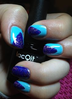 LacQit one step gel polish easy quick no-wipe nail art. In a Blue Streak/Pop on this Purple - new summer colors www.thenailscene.com