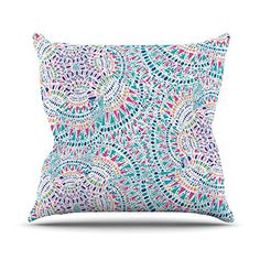 KESS InHouse MM4087BOP03 18 x 18-Inch 'Miranda Mol Kaleidoscopic White Aqua Abstract' Outdoor Throw Cushion - Multi-Colour * Check this useful article by going to the link at the image. #GardenFurnitureandAccessories