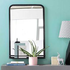 Spiegel OAKLAND mit Ablage aus Metall, H 91 cm, schwarz