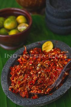 Sambal Tuktuk              1 tablespoon andaliman seasalt to taste 1 teaspoon fresh squeezed calamansi juice 3/4 cup dried anchovies, slightly toasted 10 long red cayenne pepper 5 Thai red pepper 3 shallots (use 5-6 shallots if you use a smaller size one), peeled 2 candlenuts