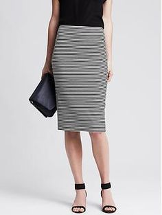 Striped Ponte Pencil Skirt | Banana Republic
