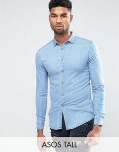 ASOS TALL Skinny Denim Shirt In Bleach Wash