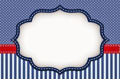 Rayas Azules y Puntos Blancos: Invitaciones para Imprimir Gratis.