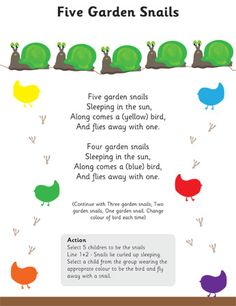 Five Garden Snails Poem Changed the lyrics to say Five garden snail sleeping in the sun along comes a big bird and scares away one.