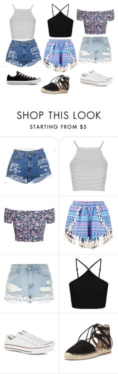 """Summer outfits "" by skyscraper1432 ❤ liked on Polyvore featuring Topshop, H&M, Boohoo, River Island, Miss Selfridge, Converse and Aquazzura"