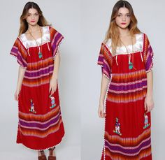 Vintage 80s MEXICAN Dress Ruby Red EMBROIDERED Hippie Maxi Dress Ethnic Blanket Dress CROCHET Festival Dress on Etsy, $52.00