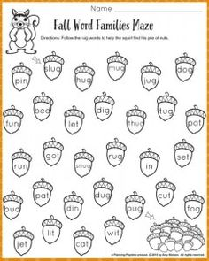 Word Family Worksheets For It Word Family Match Letter And Write ...