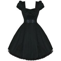 WOMENS LADIES PLAIN BLACK RETRO VINTAGE 50S VTG STYLE PARTY PROM EVENING DRESS