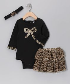 Look what I found on #zulily! Baby Essentials Black Leopard Bow Headband Set - Infant by Baby Essentials #zulilyfinds