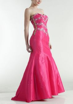 pictures of strapless hot pink prom dress