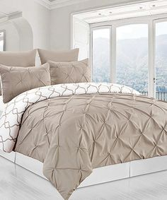 Another great find on #zulily! Taupe Reversible Pintuck & Printed Duvet Set #zulilyfinds