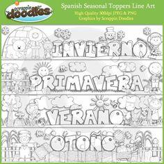 Spanish Seasonal Toppers Line Art Download