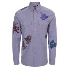 Paul Smith Men's Shirts | Blue Pixelated Animals Embroidered Shirt
