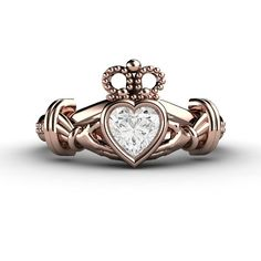Diamond Claddagh Ring Irish Engagement Ring Promise - fit for a queen!
