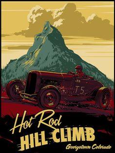 Hot Rod HillClimb Vintage Poster