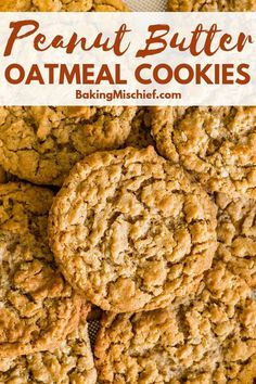 Fantastic chewy, peanut-buttery Peanut Butter Oatmeal Cookies that everyone will. Fantastic chewy, peanut-buttery Peanut Butter Oatmeal Cookies that everyone will love, plus instructions for freezin Chocolate Chip Cookies, Chewy Peanut Butter Cookies, Oat Cookies, Protein Cookies, Peanut Butter Recipes, Healthy Cookies, Cookies Et Biscuits, Recipe For Healthy Peanut Butter Cookies, Cookie Recipe With Oats