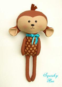 Munchy the Monkey stuffed animal toy  Doll by SquishyBee on Etsy, $55.00