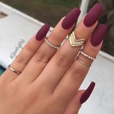 gorgeous maroon nails with perfect ring set
