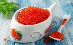 Download wallpapers red caviar, plate of caviar, appetizer, delicacy