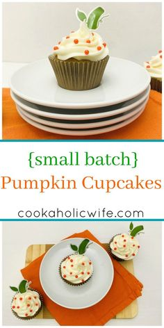 Small Batch Pumpkin Cupcakes | Small Batch Pumpkin Cupcakes are the perfect pumpkin cupcake, topped with a cream cheese frosting, made in smaller quantities. This recipe makes 12, but you can easily cut it in half to only make 6! | www.cookaholicwife.com #HalloweenTreatsWeek