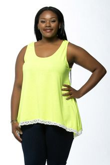 Neon Yellow Lace Trim Plus Size Tank