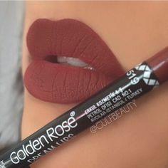 Golden Rose lipliner (519) - Brownish maroon lipliner all over my lips. (Turkish…
