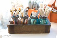 Mason jar paintbrush storage / How to purge like a pro... and win back your home! By Funky Junk Interiors for ebay.com