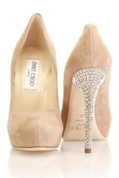 Jimmy Choo Suede and Crystal Pump In Nude.