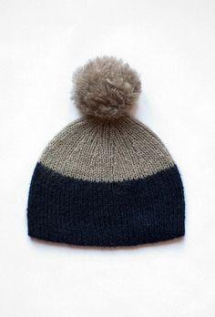Kid Mohair Bobble Hat – Beige/Navy- was £75 - Colenimo