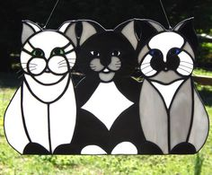 3 Little Kittens Stained Glass Suncatcher by Handcraftcottage