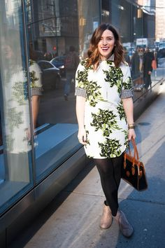 {A Touch of Neon | Simply Audree Kate} Spring outfit perfect for the office or taking a stroll: Neon floral dress, black tights, and beige boots