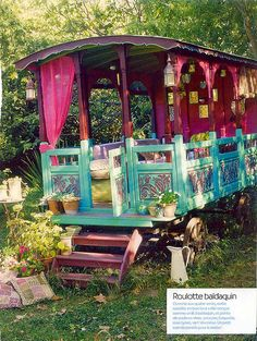 Old gypsy wagon made into a porch/gazebo lounge area