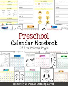 Free Preschool Calendar Notebooking Pages