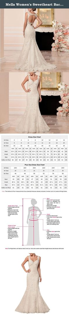 Mella Women's Sweetheart Backless Mermaid Wedding Dresses for Bride 2017 White-24W. Mella Women's Sweetheart Backless Mermaid Wedding Dresses for Bride 2017 White-24W FREE SUPER GIFT: 30$ worth of long tulle bridal veils with lace appliques, up to 9 ft (approximately 3m), Same Lace pattern as that of the wedding dress shown in picture. Perfect match for the brides. Standard Size Option: Choose the size from the dropdown menu according to our Size Chart Image displayed next to the main…
