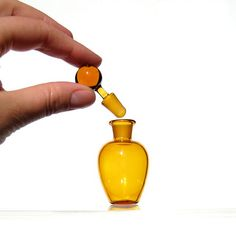 Perfume Bottle or Small Jar in Yellow, Hand Blown Glass