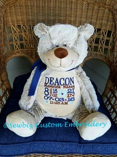 Bear with blanket blanket embroidered with message of your choice benjamin bear personalized stuffed animal classic edition baby gift birth announcement animal negle Images