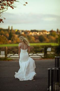 A glamorous high neck crepe fit-and-flare bridal gown with a deep Art-Deco beaded back, scallop edge cap sleeves and sparkly belt. Crepe Wedding Dress, Perfect Wedding Dress, Autumn Wedding, Wedding Day, True Bride, Carlisle Cumbria, Gowns Of Elegance, Vintage Inspired Dresses, Designer Wedding Dresses
