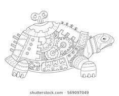 Steampunk Style Turtle Coloring Book Vector Stock Vector - Illustration of pattern, antistress: 85258348 Free Adult Coloring, Adult Coloring Book Pages, Animal Coloring Pages, Coloring Books, Colouring, Steampunk Animals, Steampunk Costume, Steampunk Fashion, Metal Art