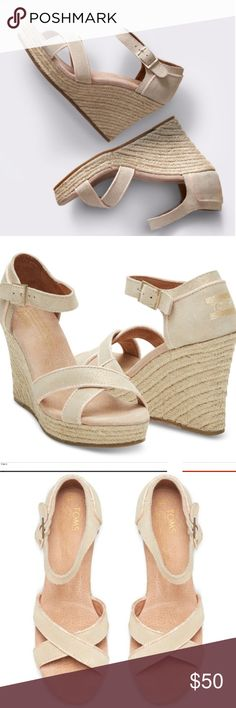 7dbf75da483c3 NWOT Toms Gold Metallic Strappy Wedge Sandals NWOT A Strappy Pair Of Wedges  Is An Exceptional