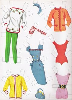 (⑅ ॣ•͈ᴗ•͈ ॣ)♡                                                            ✄1963 Barbie paper doll clothes