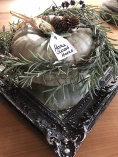 Pumpkin autumn decor green mint silver mirror style Fall Pumpkins, Grapevine Wreath, Grape Vines, Fall Decor, Mint, Wreaths, Autumn, Mirror, Decoration